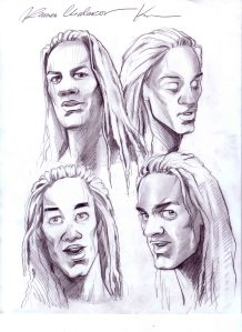 Andrew Everett, head sketches